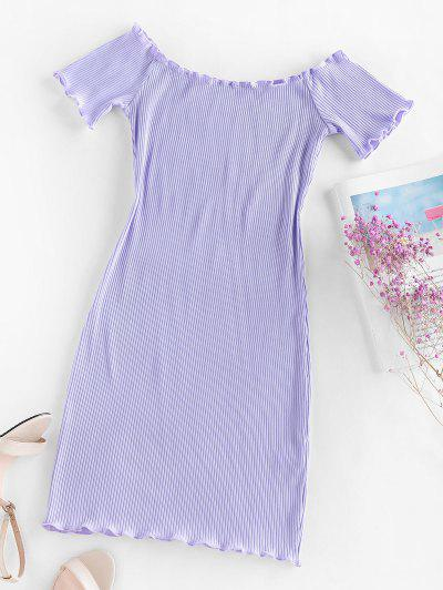ZAFUL Ribbed Lettuce Trim Bodycon Dress - Light Purple M