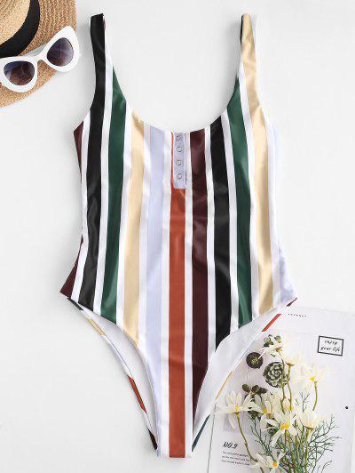ZAFUL Multi Striped Snap Button High Leg One-piece Swimsuit - Deep Green S