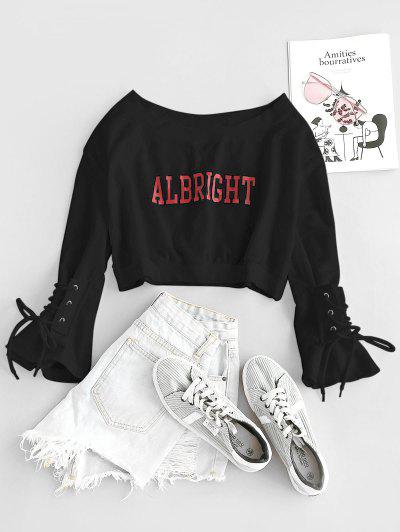 Letter Graphic Bell Sleeve Lace Up Crop Sweatshirt - Black