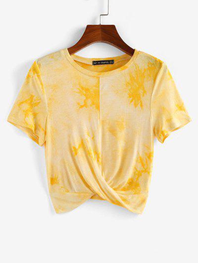 ZAFUL Front Twist Tie Dye Crop Tee - Yellow Xl