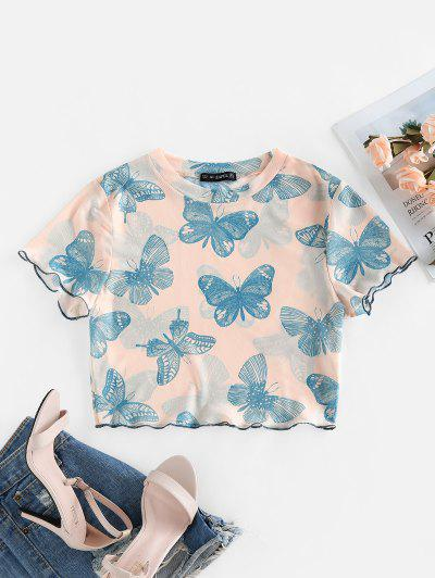 ZAFUL Lettuce Trim Butterfly Print Crop Tee - Light Pink L