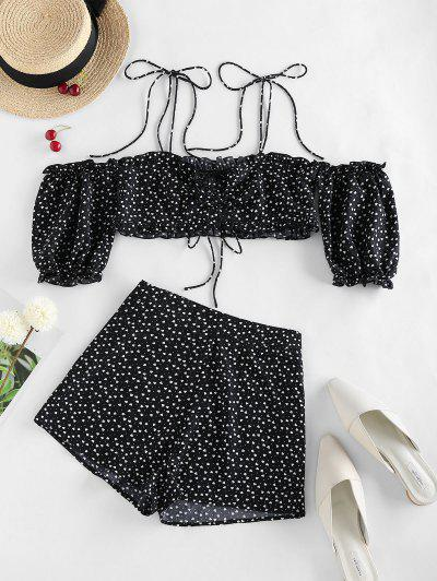 ZAFUL Valentine Heart Print Tie Shoulder Two Piece Set - Black S
