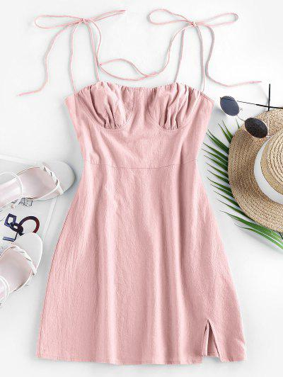 ZAFUL Tie Cotton Bustier Dress - Rose M