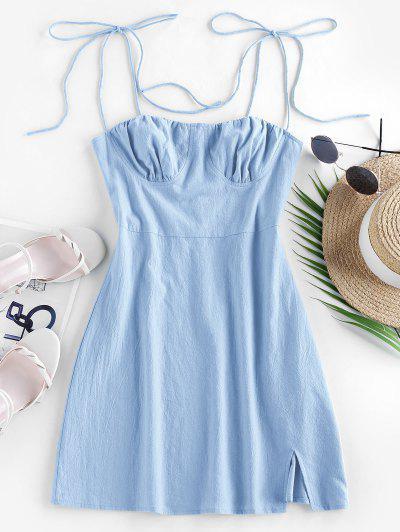 ZAFUL Tie Cotton Bustier Dress - Baby Blue S