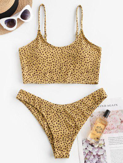 ZAFUL Leopard Snake Print Ribbed Tankini Set - Light Coffee S