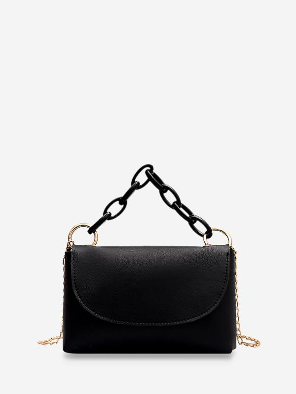 Plain Chain Handle Small Flap Tote Bag