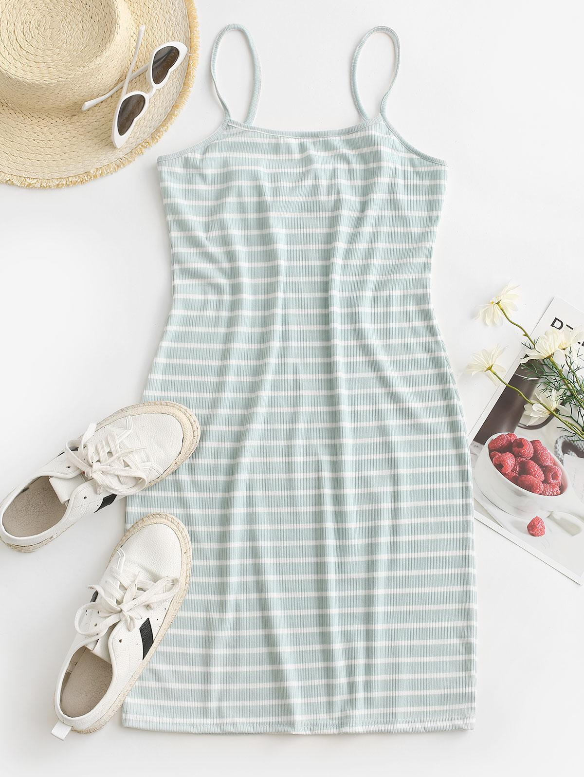 Striped Ribbed Bodycon Cami Dress