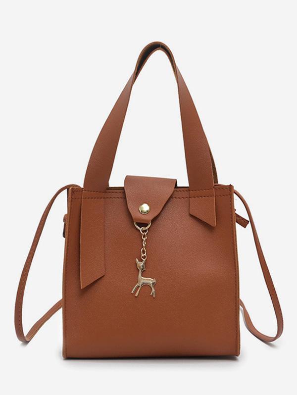 Deer Charm Mini Bucket Crossbody Bag