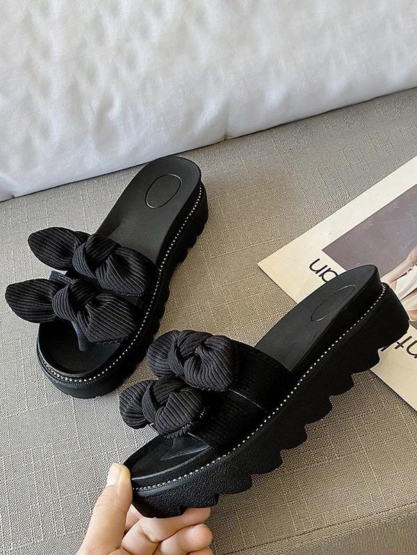 Double Bowknot Platform Slides Sandals