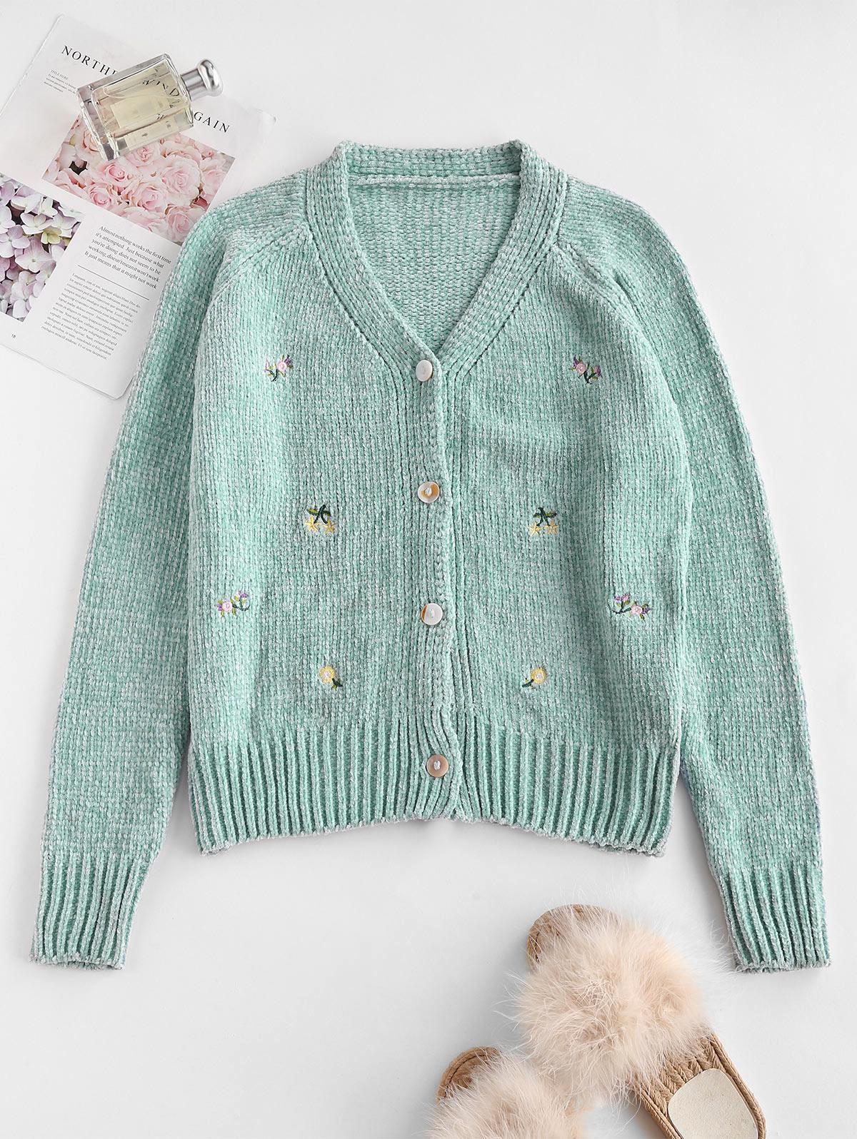 Chenille Flower Embroidered Raglan Sleeve Cardigan
