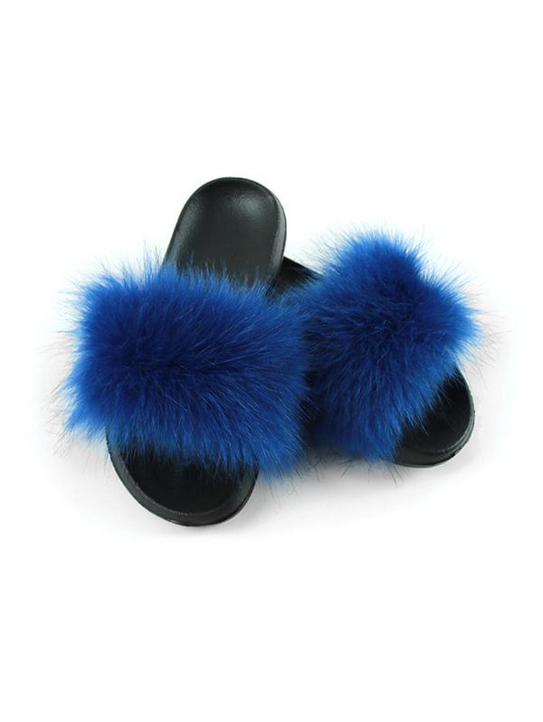 Faux Fur Casual Flat Slides