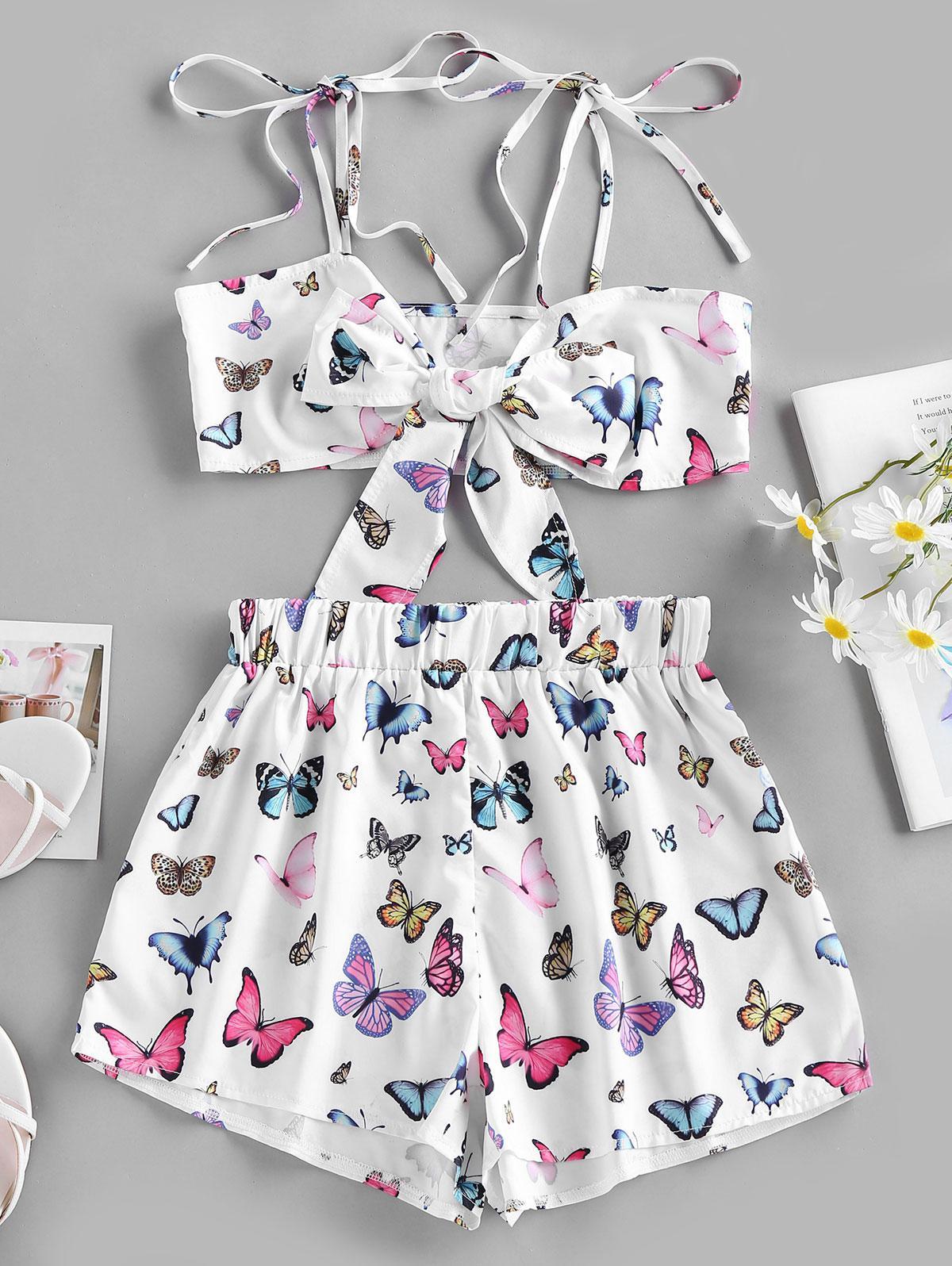 ZAFUL Self Tie Butterfly Print Bowknot Shorts Set