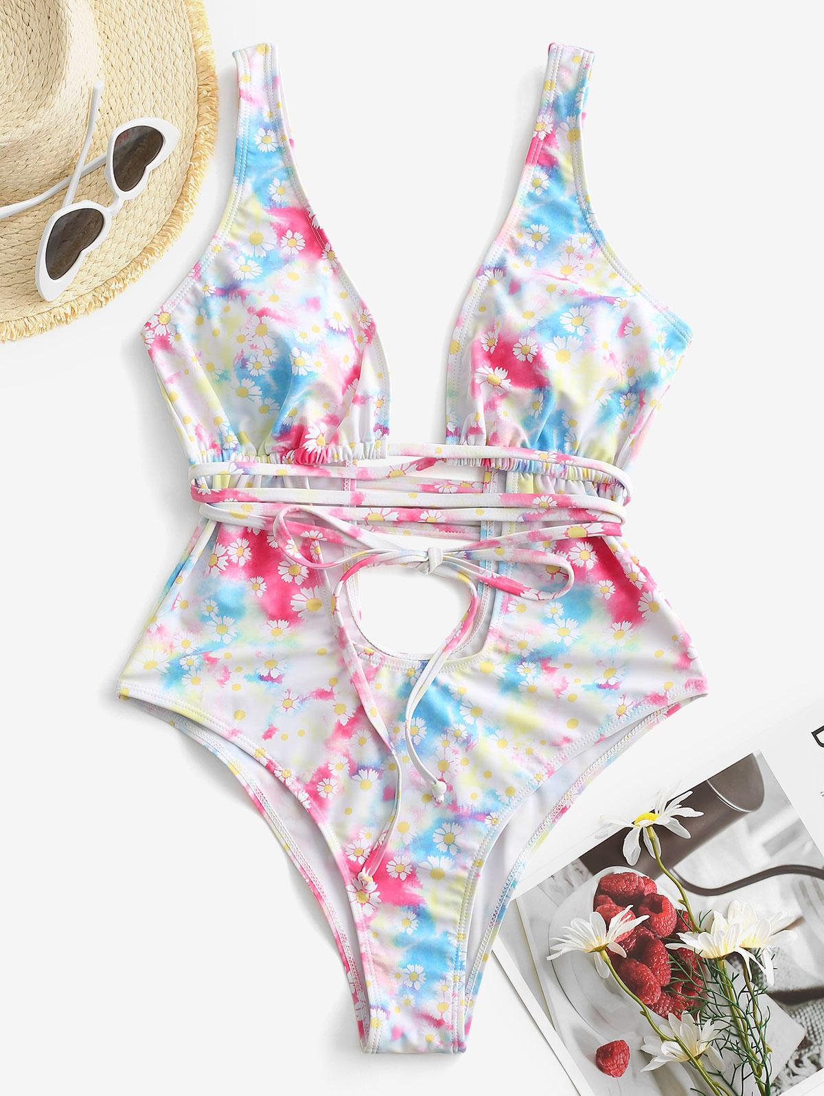 Daisy Print Cutout Plunging One Piece Swimsuit