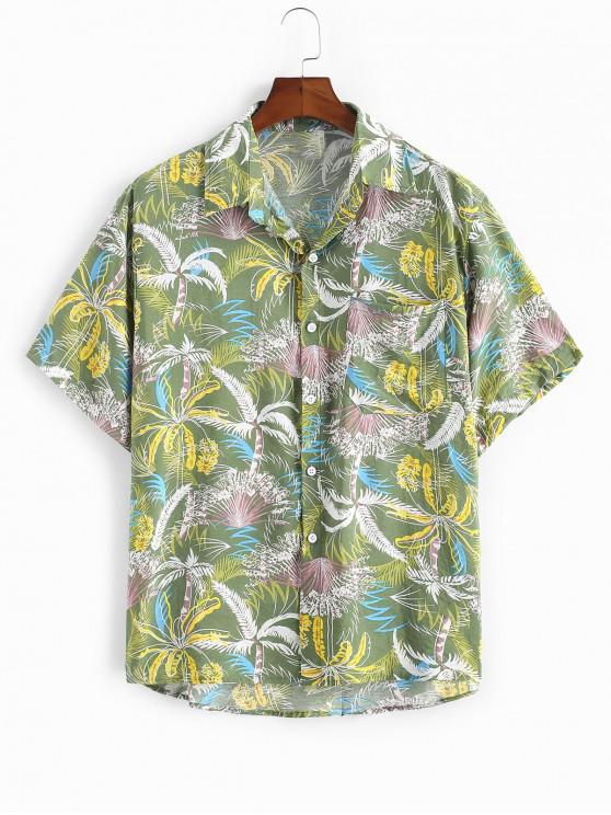 Tropical Trees Print Pocket Beach Shirt - أخضر 2XL