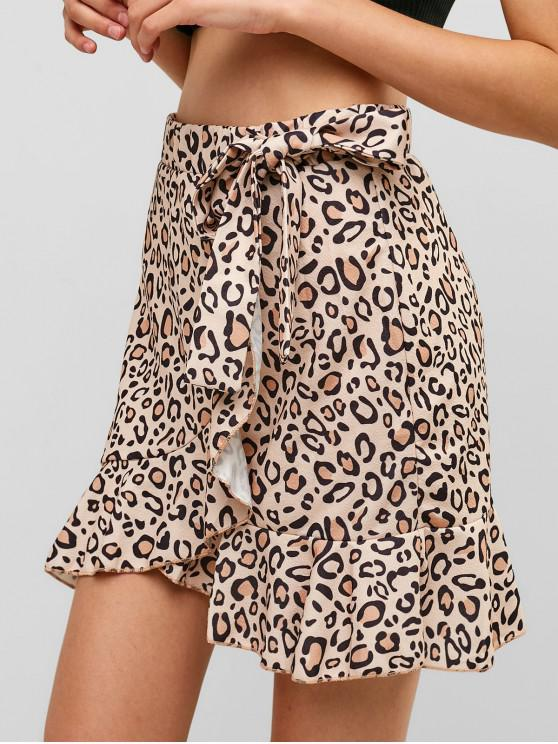 outfits Leopard Speckled Floral Ruffles Knotted Mini Skirt - APRICOT S