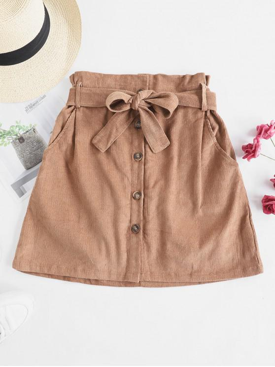 women Button Fly Corduroy Belted Paperbag Skirt - BROWN L