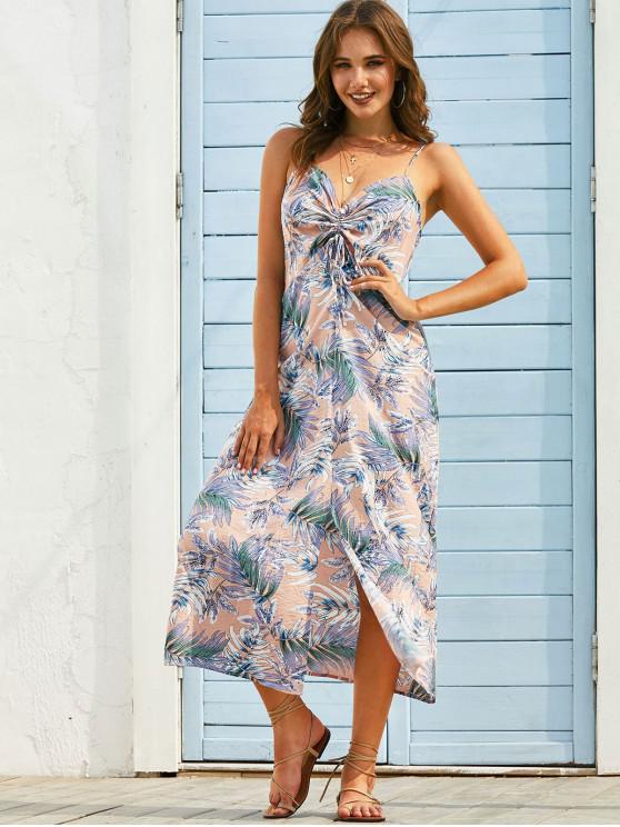 latest Leaf Print Cinched Slit Long Cami Dress - LIGHT PINK M