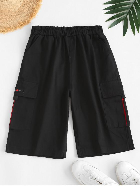latest Knee Length High Rise Cargo Shorts - BLACK XL