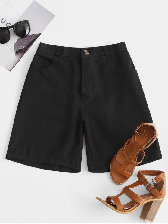 Short Bermudas Zippé à Taille Haute avec Poches - Noir XL