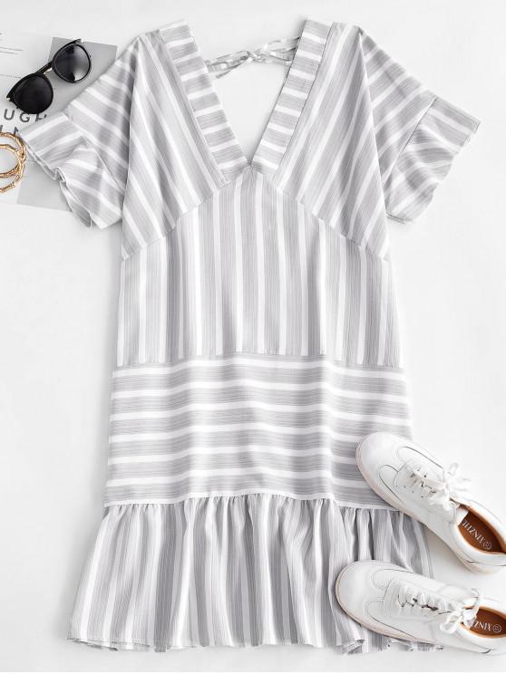 chic Striped Flounce Plunge Pep Hem Tie Dress - LIGHT GRAY S
