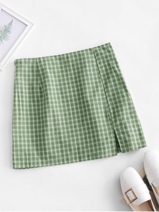 Seitenschlitz Kariertes Minirock mit Seitlichem Reißverschluss - Grün S