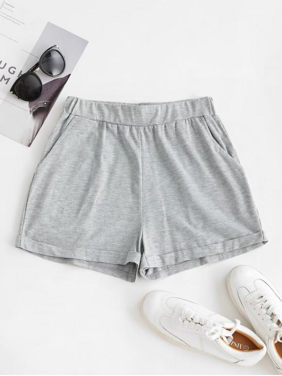 shop ZAFUL Pull On Pocket Cuffed Shorts - GRAY XL