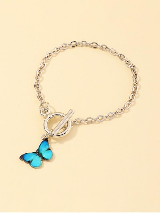 best Butterfly Pendant Lariat Bracelet - BLUE ZIRCON
