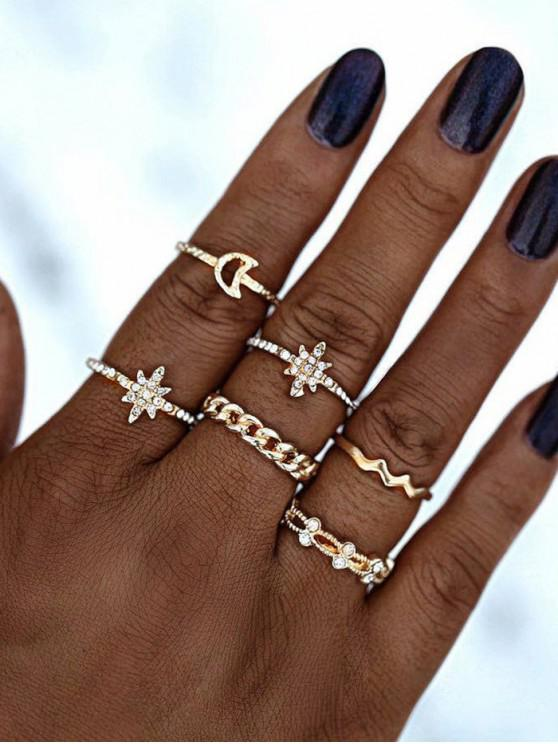 chic Rhinestone Moon Star Shape Rings Set - GOLDEN