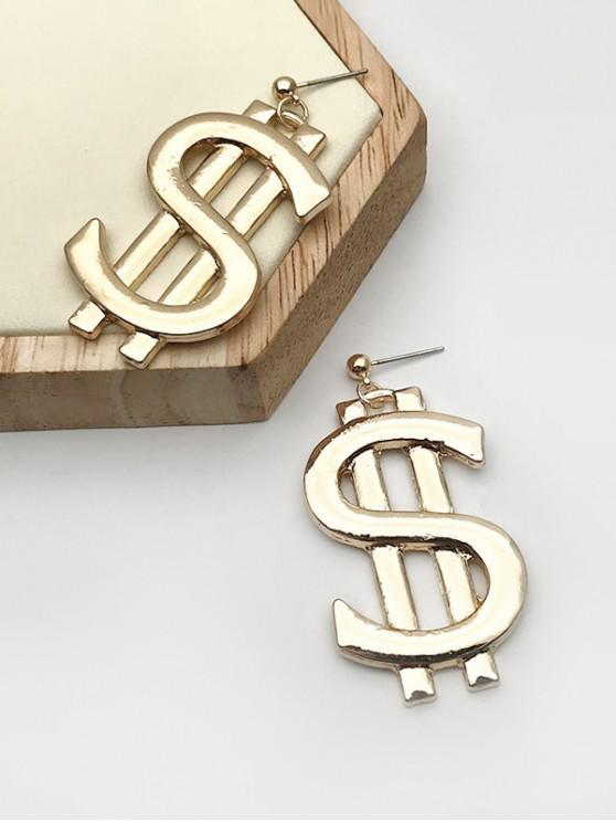 new Money Symbol Shape Drop Earring - GOLDEN