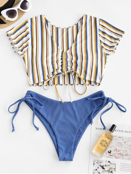 affordable ZAFUL Ribbed Striped Cinched Two Piece Swimwear - BLUE M