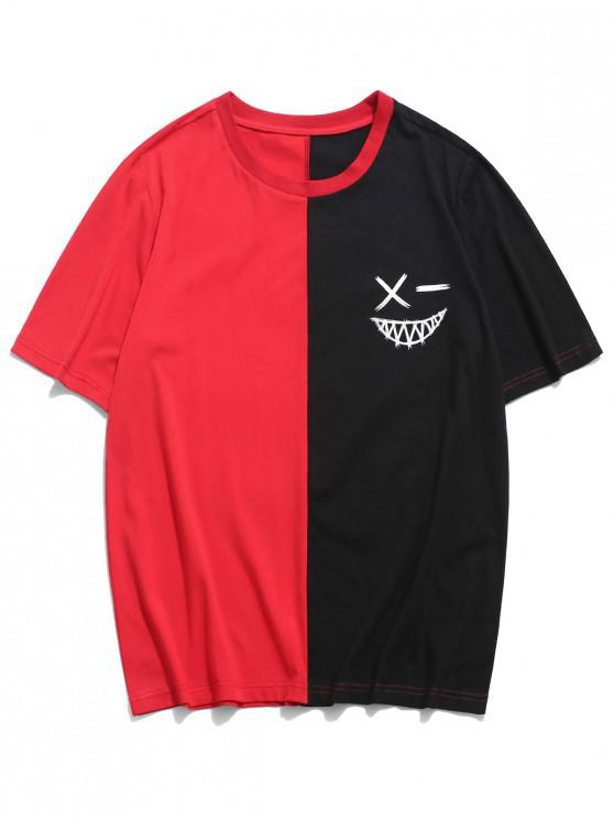 ZAFUL Camiseta de Cuello Redondo de Bloqueo de Color - Rojo L