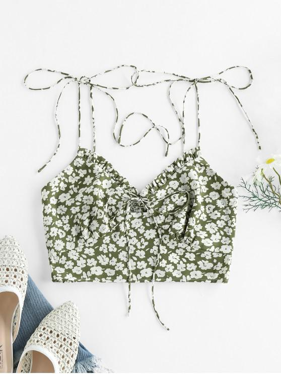 trendy ZAFUL Ditsy Print Ruffle Smocked Tie Shoulder Bustier Top - SHAMROCK GREEN L