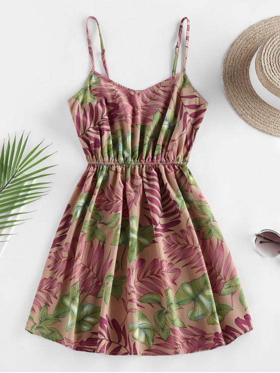 ladies ZAFUL Leaf Print Tropical Sundress - DEEP PEACH M