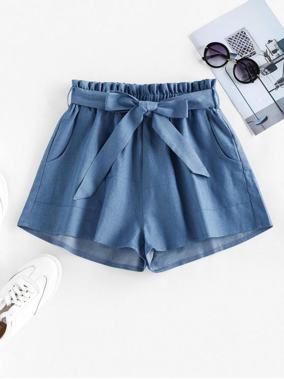 affordable ZAFUL Belted Chambray Paperbag Shorts - BLUE M
