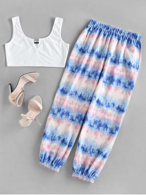 womens ZAFUL V Wired Top and Tie Dye Jogger Pants Set - MULTI L