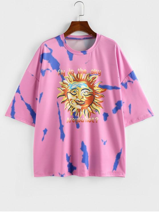 trendy ZAFUL Sun Letter Tie Dye Drop Shoulder Oversized T-shirt - LIGHT PURPLE S