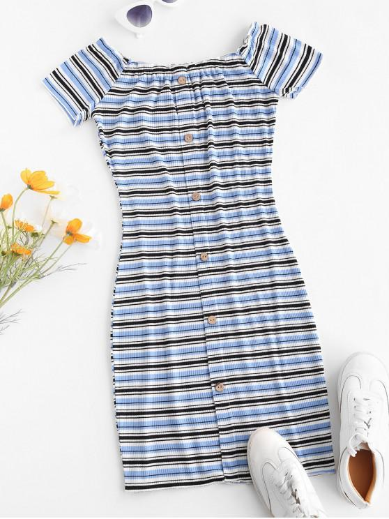 chic Off The Shoulder Ribbed Striped Bodycon Dress - BLUE S
