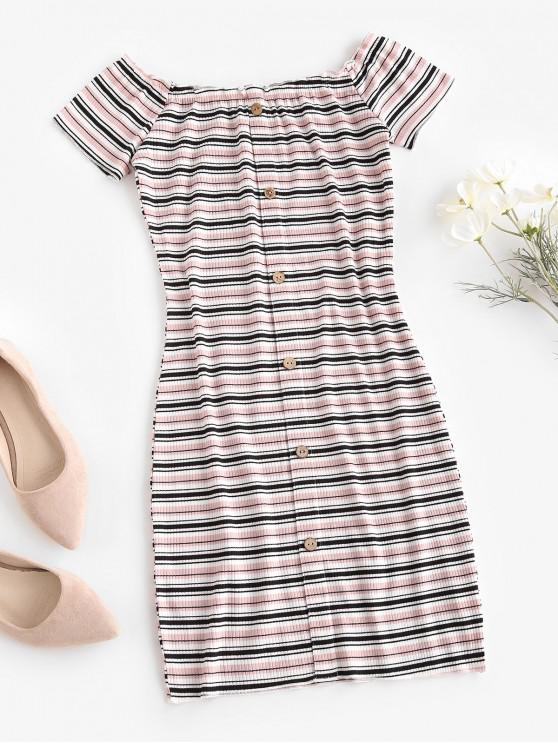 fancy Off The Shoulder Ribbed Striped Bodycon Dress - LIGHT PINK S