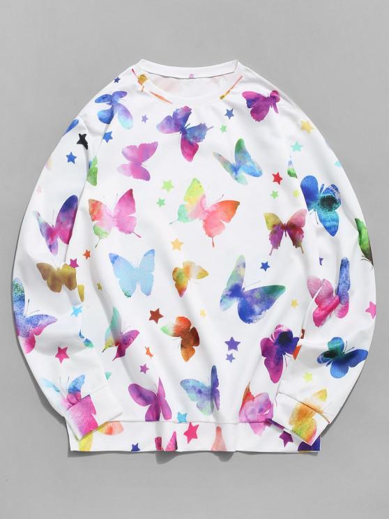 women Stars and Butterflies Print Pullover Sweatshirt - WHITE XL