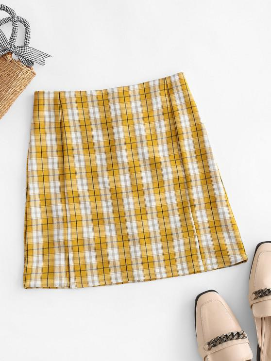 affordable Plaid Slit Front Mini Skirt - YELLOW M