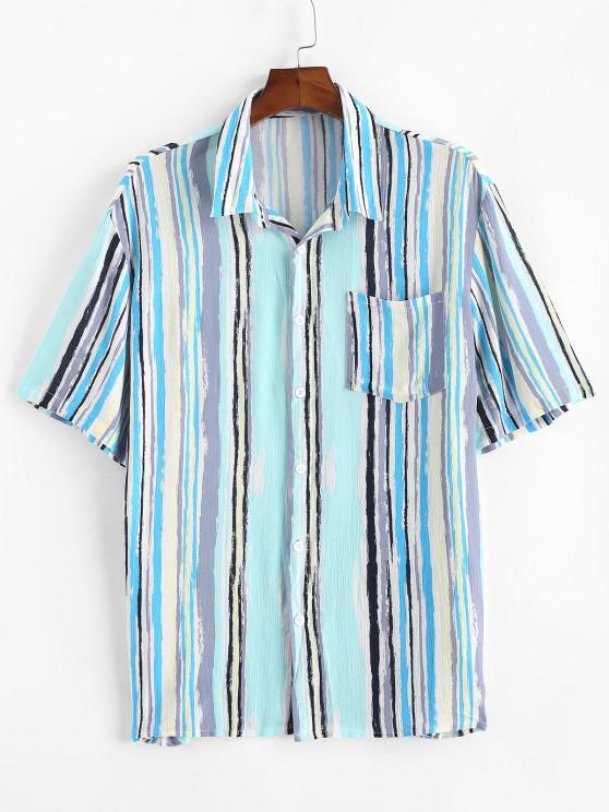 Gestreiftes Druck Taschen Patch Hemd - Hellblau XL