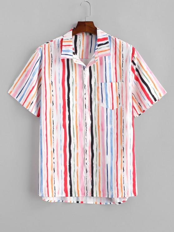 Vertikal Gestreifter Druck Taschen Hemd - Hell-Pink XL