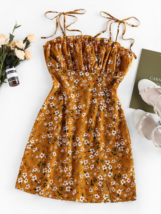 ZAFUL Ditsy Print Slit Mini Dress - شوكولاتة L