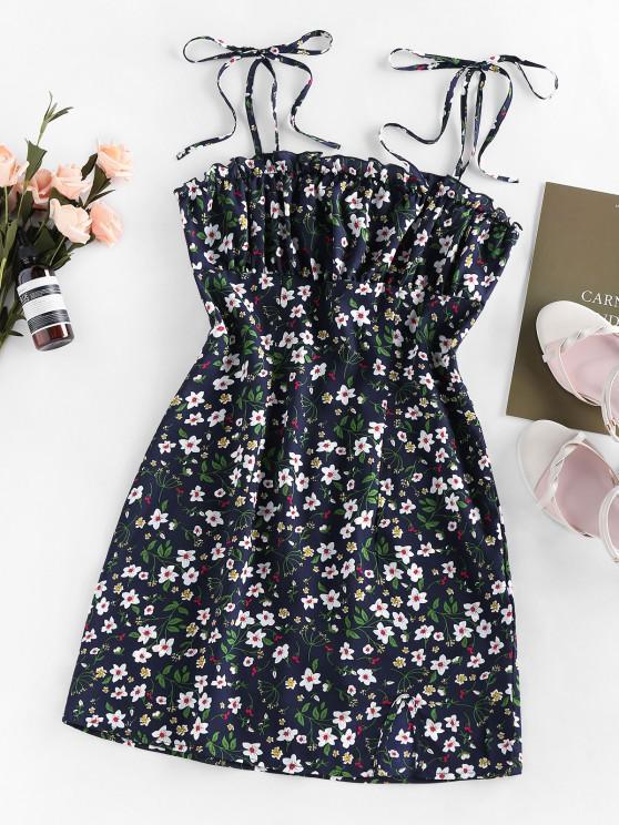 affordable ZAFUL Ditsy Print Slit Mini Dress - DEEP BLUE M