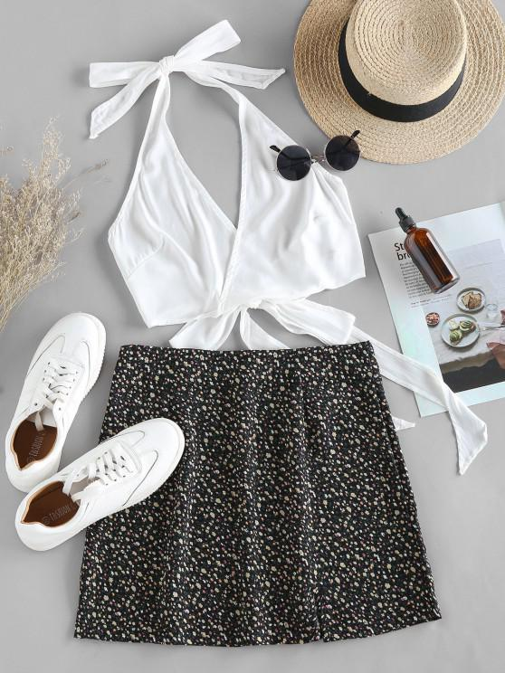 fashion ZAFUL Halter Self Tie Top with Print Skirt Two Pieces Set - BLACK M