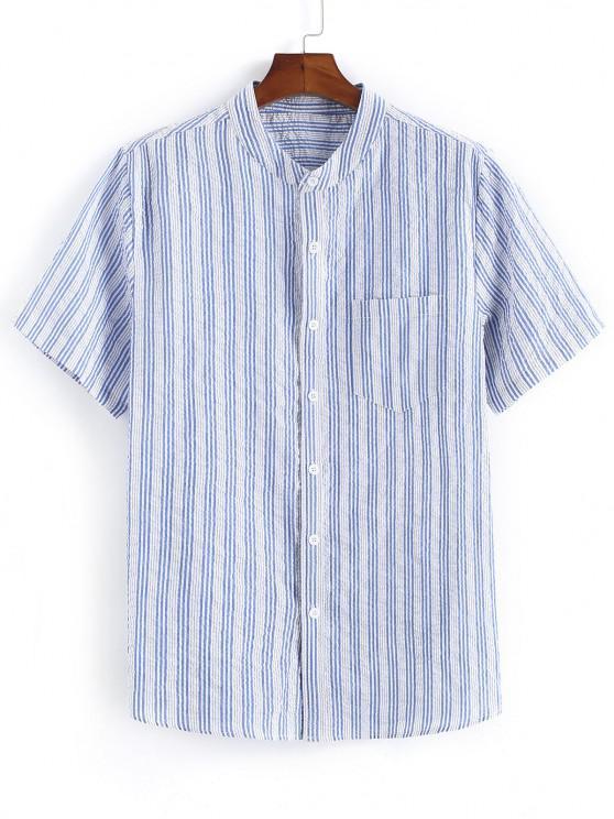 Gestreiftes Druck Taschen Patch Knopf Hemd - Hellblau 2XL