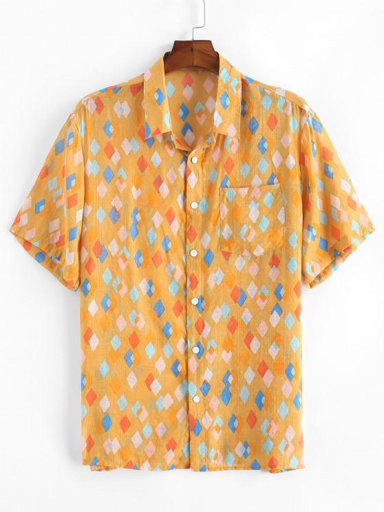 Geometrischer Muster Tasche Patch Urlaub Hemd - Gelb 2XL