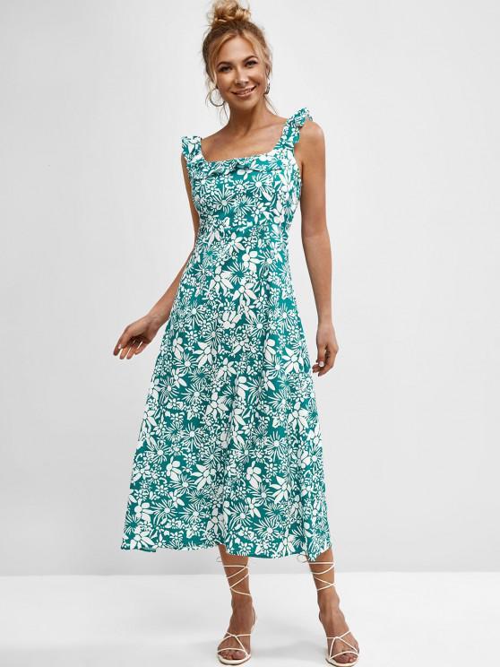 hot Sleeveless Printed Tie Back Ruffles Dress - GREEN S