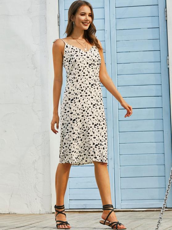 ladies Dalmatian Print Tie Strap Cami Knee Length Dress - LIGHT YELLOW S