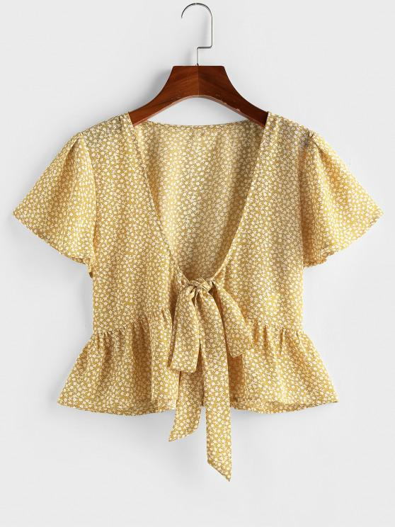 lady ZAFUL Ditsy Print Tie Front Flutter Sleeve Peplum Blouse - YELLOW XL